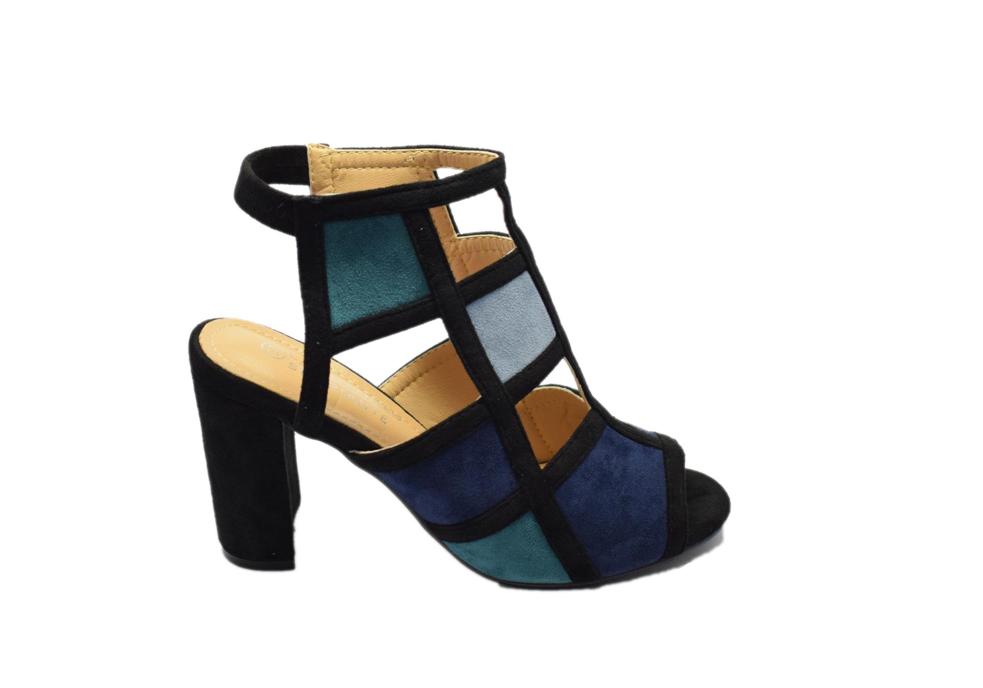 941b1e3d79c Πέδιλο Μαύρο με μπλε λεπτομέρειες - Γυναικεία Παπούτσια - Steve & Paul