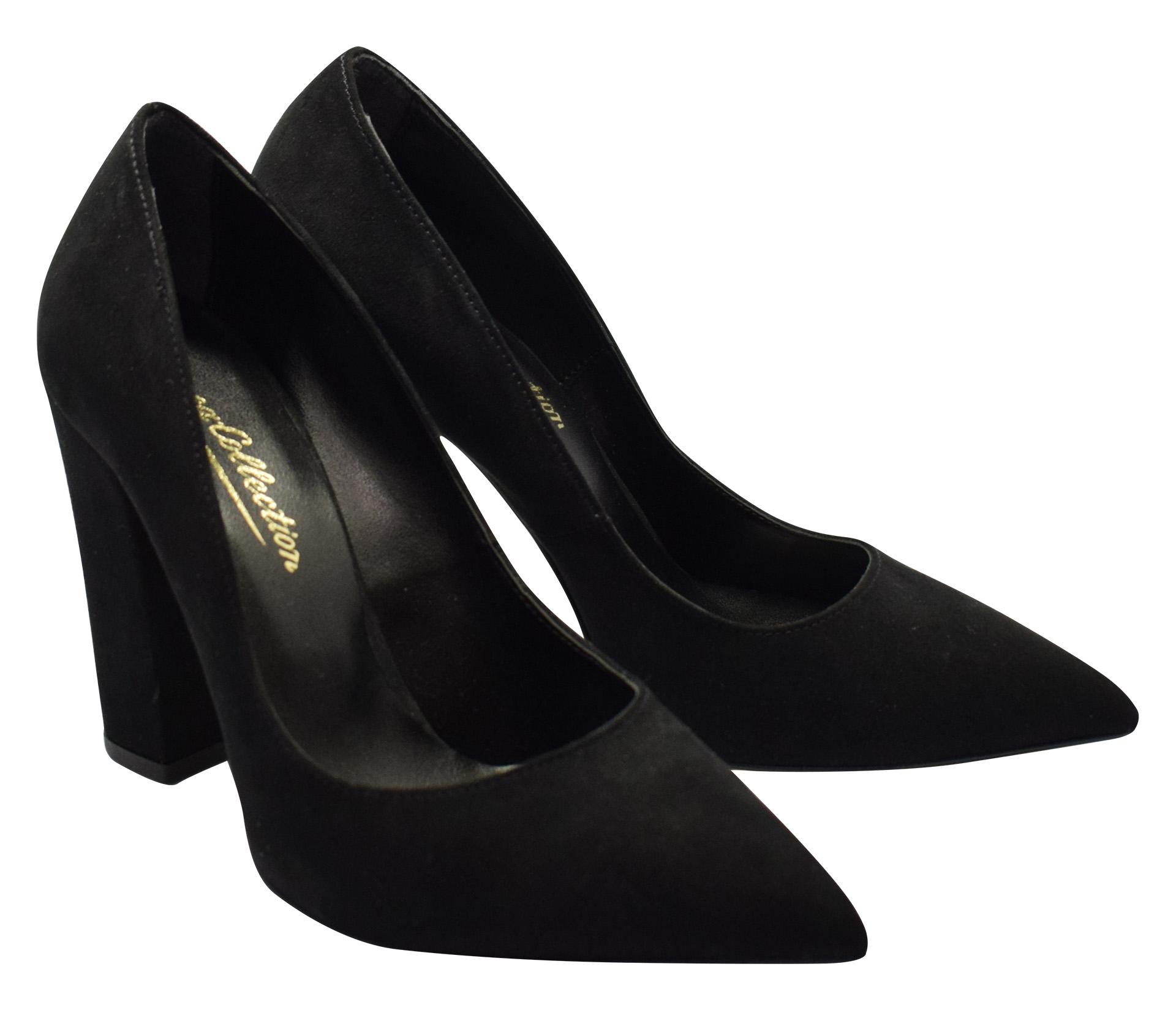 61ed04cbef0 Μαύρη Suede Μυτερή Γόβα με Χοντρό Τακούνι - Γυναικεία Παπούτσια ...